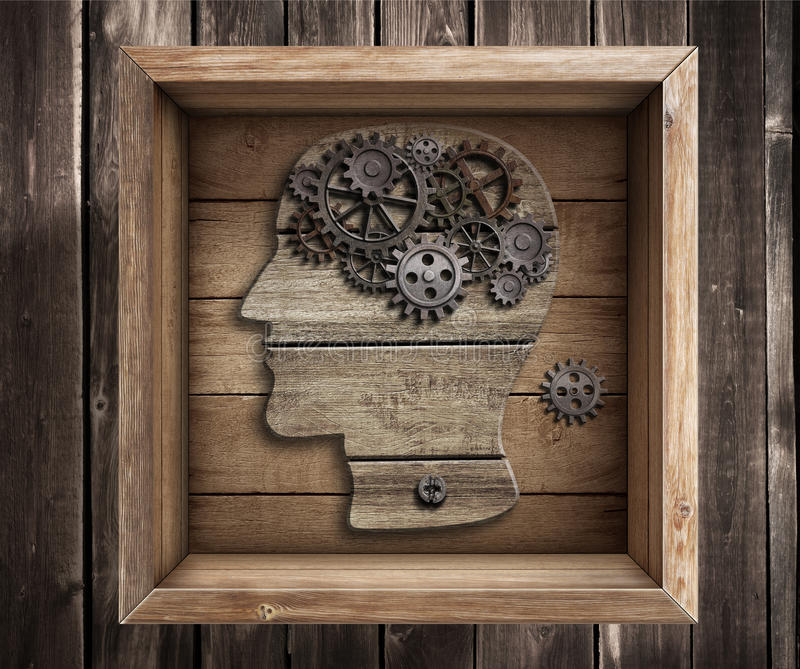 Brain work, creativity. Thinking outside the box concept. stock photography
