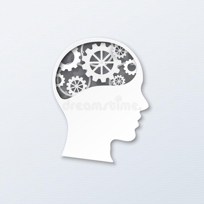 Brain work. Human head with brain gears in progress. Vector illustration paper art, paper cutting style for thinking mind, brain system, psychology, technology vector illustration