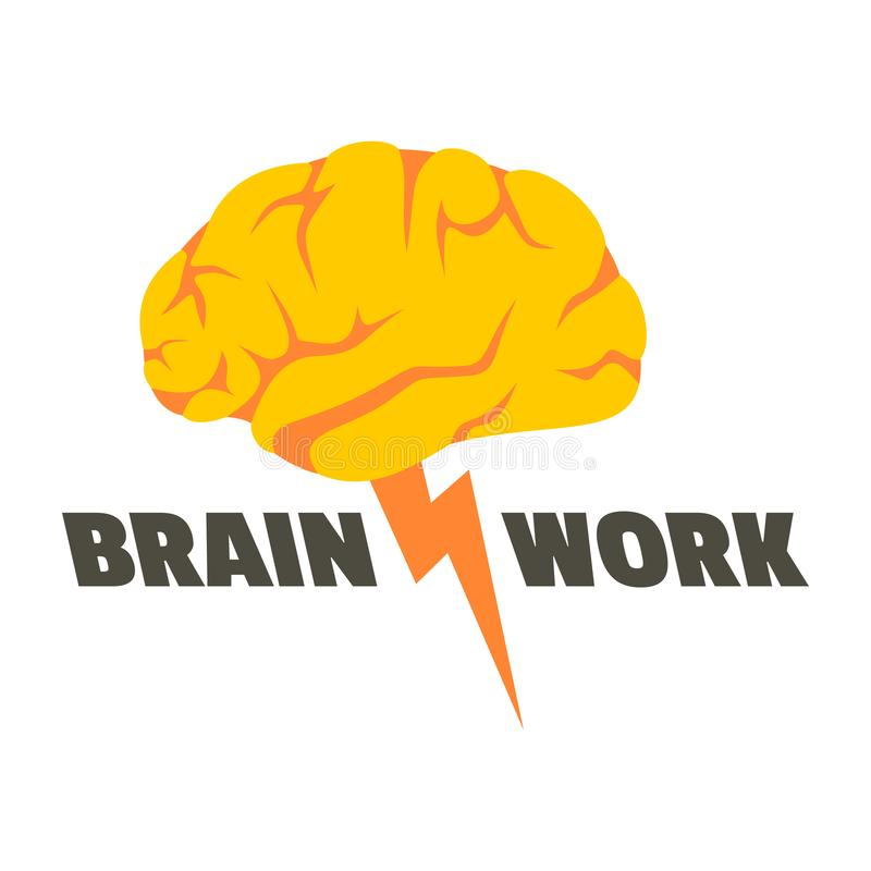 Brain work logo, flat style vector illustration