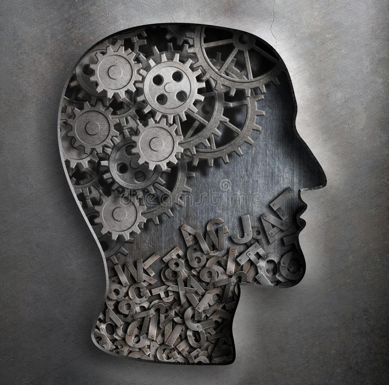 Brain work model. Thinking, psychology stock photos