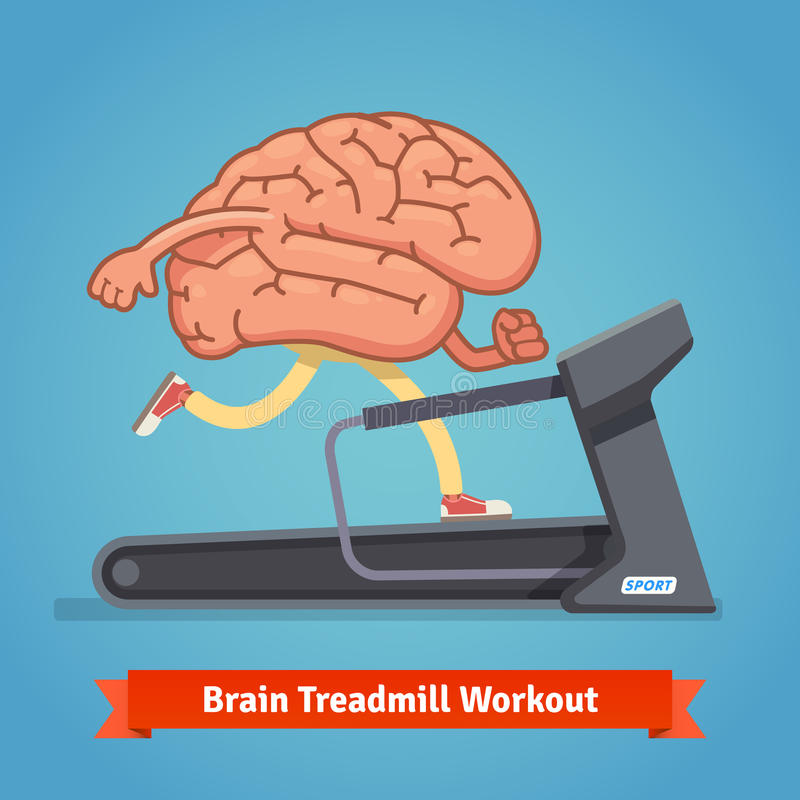 Brain working out on treadmill. Education concept stock illustration