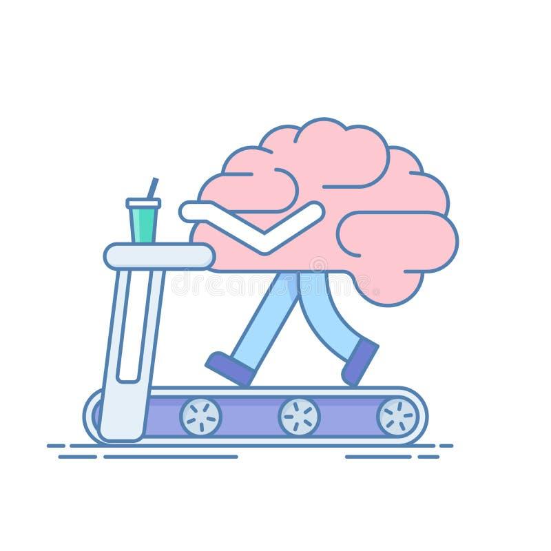 Brain Workout Het concept hersenenactiviteit Opleiding of sportenactiviteiten op de tredmolen Vectorillustratie in a vector illustratie