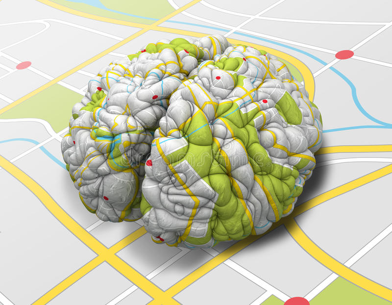Mind Map Brain Perspective stock illustration