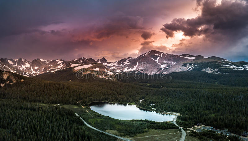 Brainard Lake Panorama at Sunset. Brainard Lake Recreation Area Indian Peaks Colorado stock photo