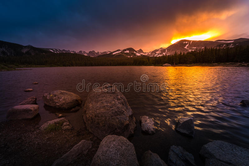 Brainard Lake at Sunset. Brainard Lake Recreation Area Indian Peaks Colorado stock photo