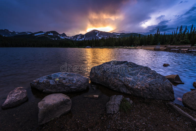 Brainard Lake at Sunset. Brainard Lake Recreation Area Indian Peaks Colorado royalty free stock image