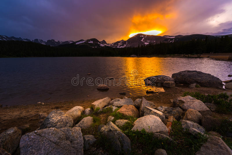 Brainard Lake at Sunset. Brainard Lake Recreation Area Indian Peaks Colorado stock images