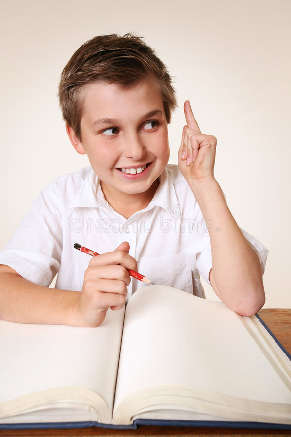 Brainchild schoolboy with idea stock images
