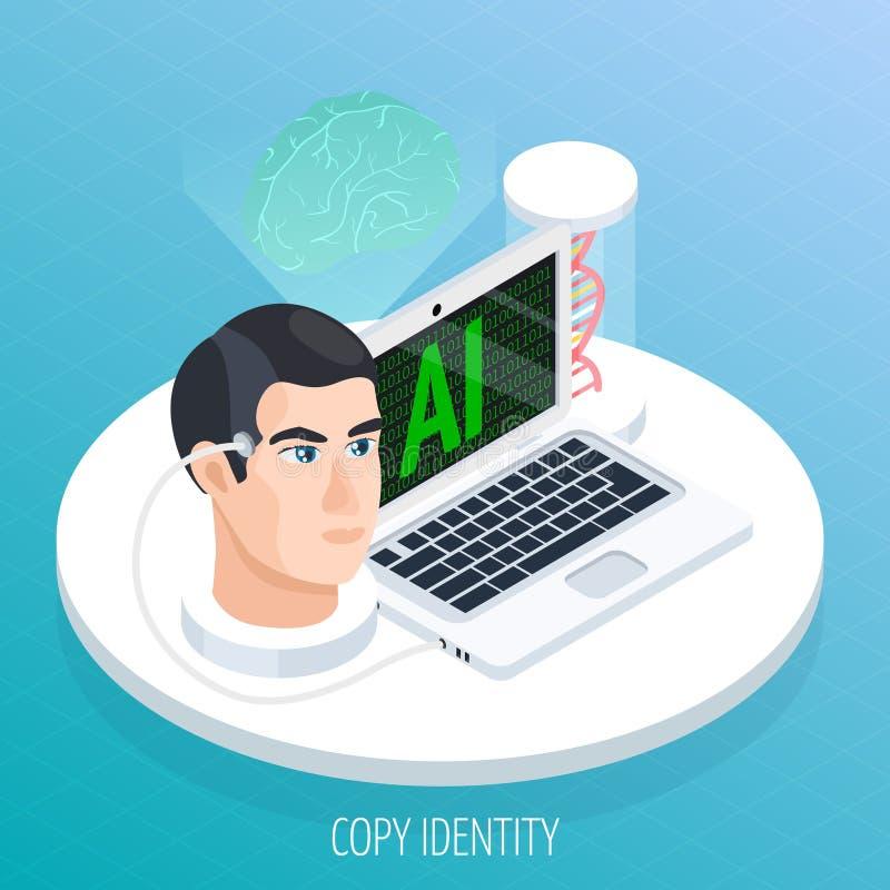 Braing Digitisation Isometric Concept royalty free illustration