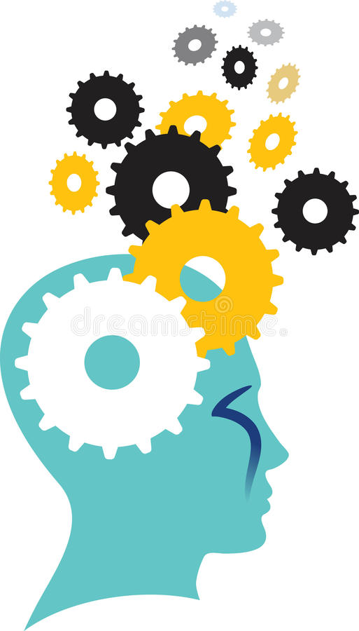 Brainpower. Isolated illustrated silhouette image royalty free illustration