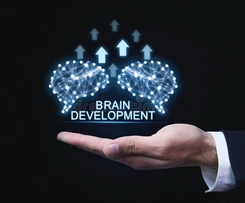 Brains with arrows. Artificial intelligence and development concept royalty free stock photos