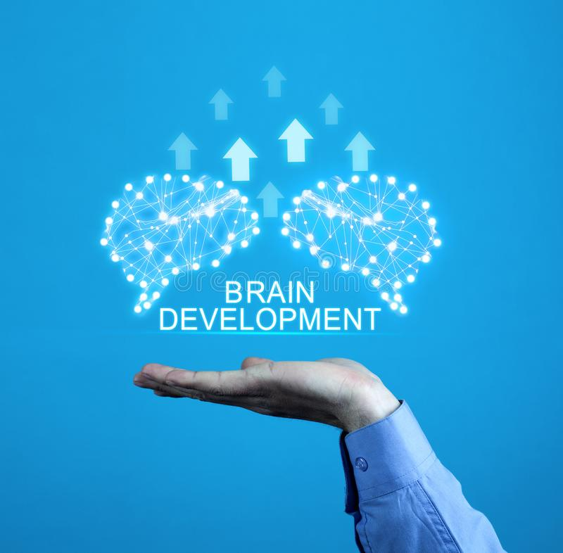 Brains with arrows. Artificial intelligence and development concept stock image