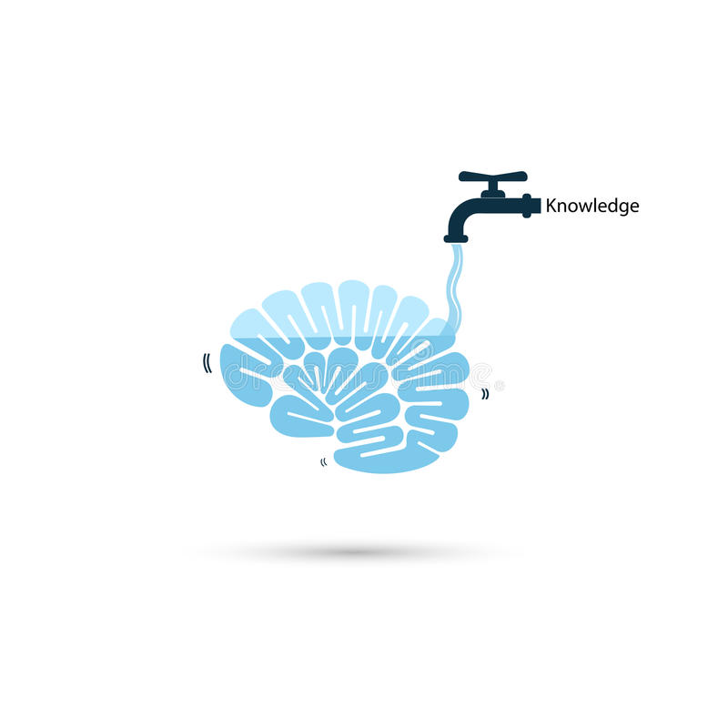 Brains icon and water tap symbol with Knowledge filling concept. royalty free illustration