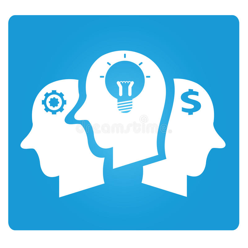 Brains. Symbol in blue button vector illustration