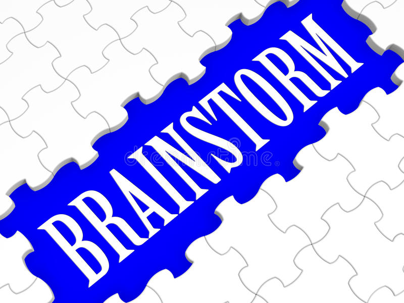 Brainstorm łamigłówka Pokazuje Kreatywnie pomysły royalty ilustracja