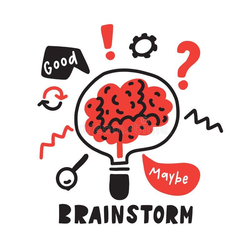 brainstorm Śmieszna ręka rysująca ilustracja brainstorming proces Mózg wśrodku lampy wektor royalty ilustracja