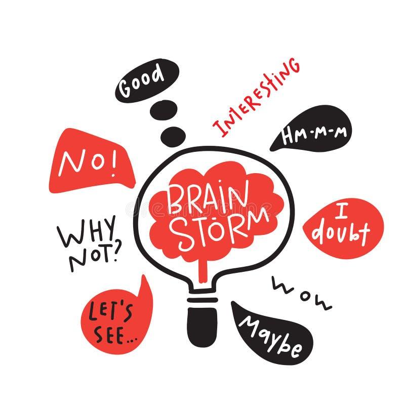 brainstorm Śmieszna ręka rysująca ilustracja brainstorming proces Mózg wśrodku lampy wektor ilustracja wektor