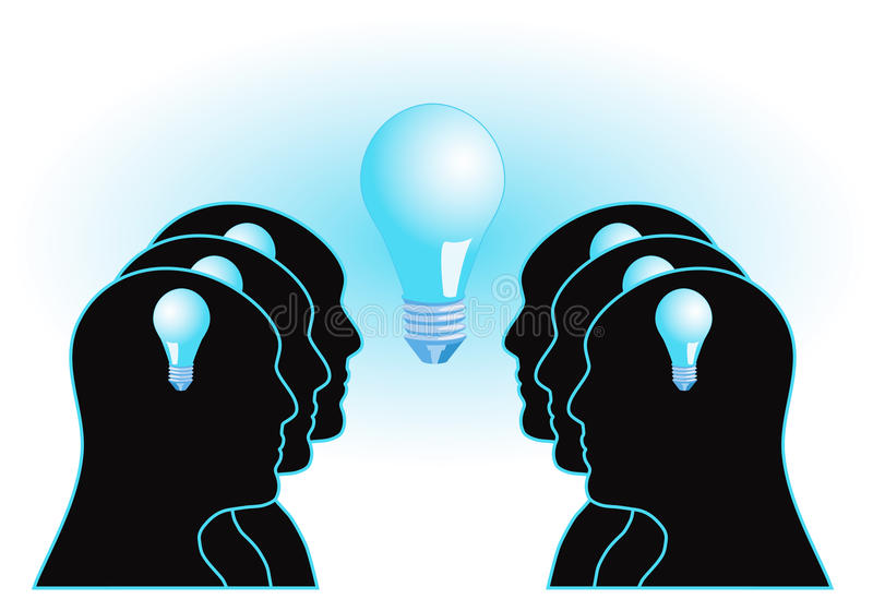 Brainstorm. Illustration with people and light bulb :: Teamwork and brainstorming concept royalty free illustration