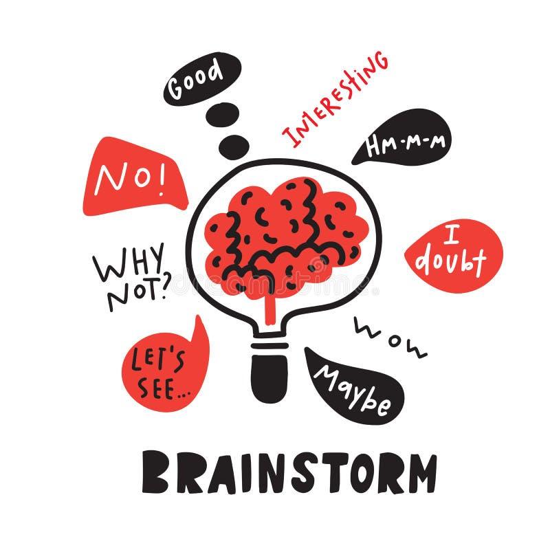 brainstorm Cérebro dentro da lâmpada Mão engraçada ilustração tirada de conceituar o processo Vetor ilustração stock