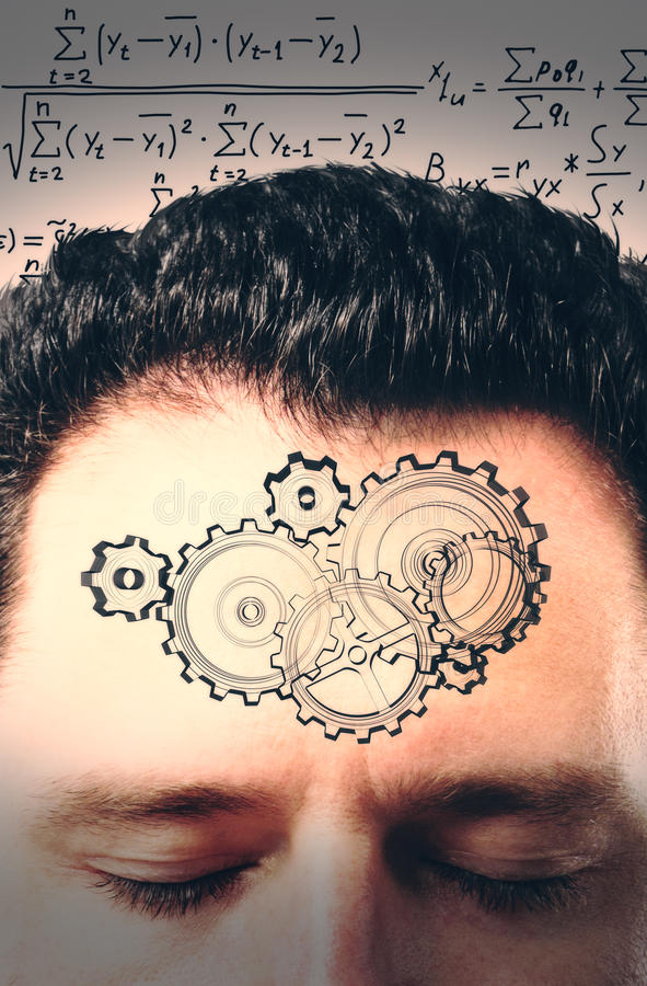 Brainstorm concept with a man's head, gears and a solution stock images