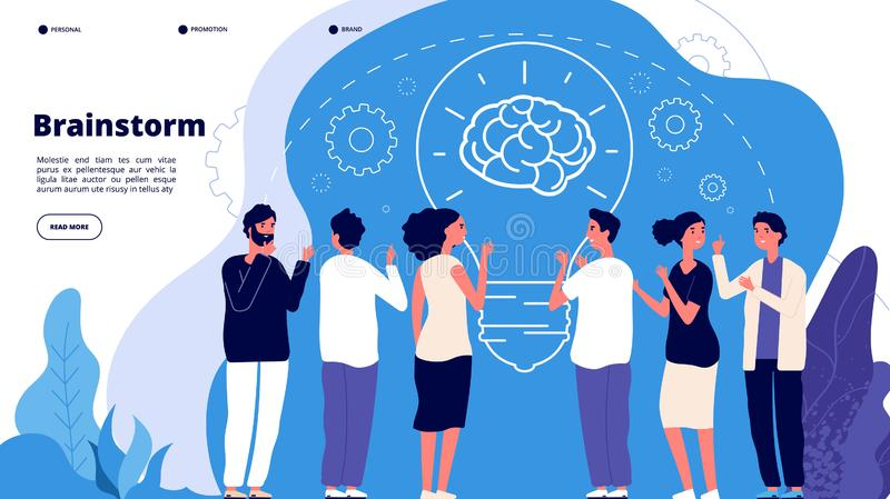 Brainstorm concept. Professionals launching creative project, brainstorming. Startup innovation teamwork business vector stock illustration