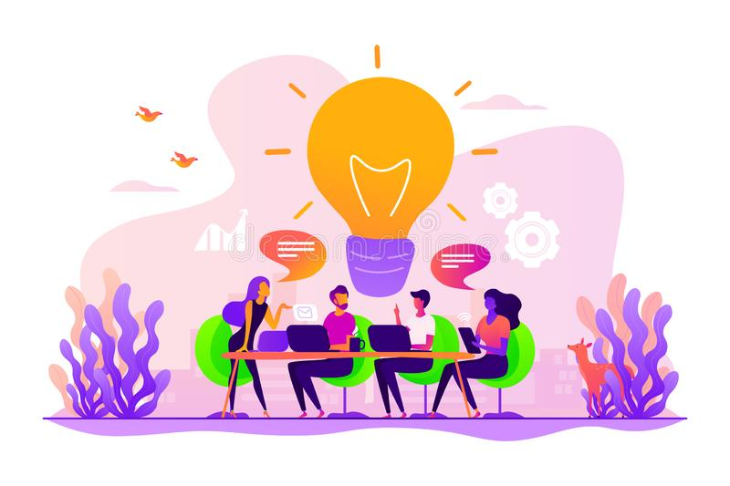 Brainstorm concept vector illustration. Sharing thoughts, ideas, teamwork in company. Colleagues working on project. Start up launching, business success vector illustration