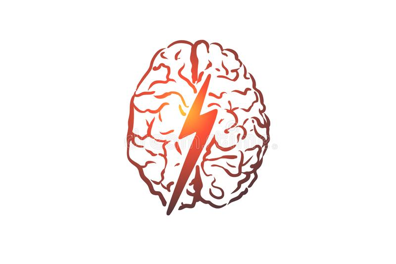 Brainstorm, creative, brain, mind, power concept. Hand drawn isolated vector. Brainstorm, creative, brain, mind, power concept. Hand drawn human brain and royalty free illustration