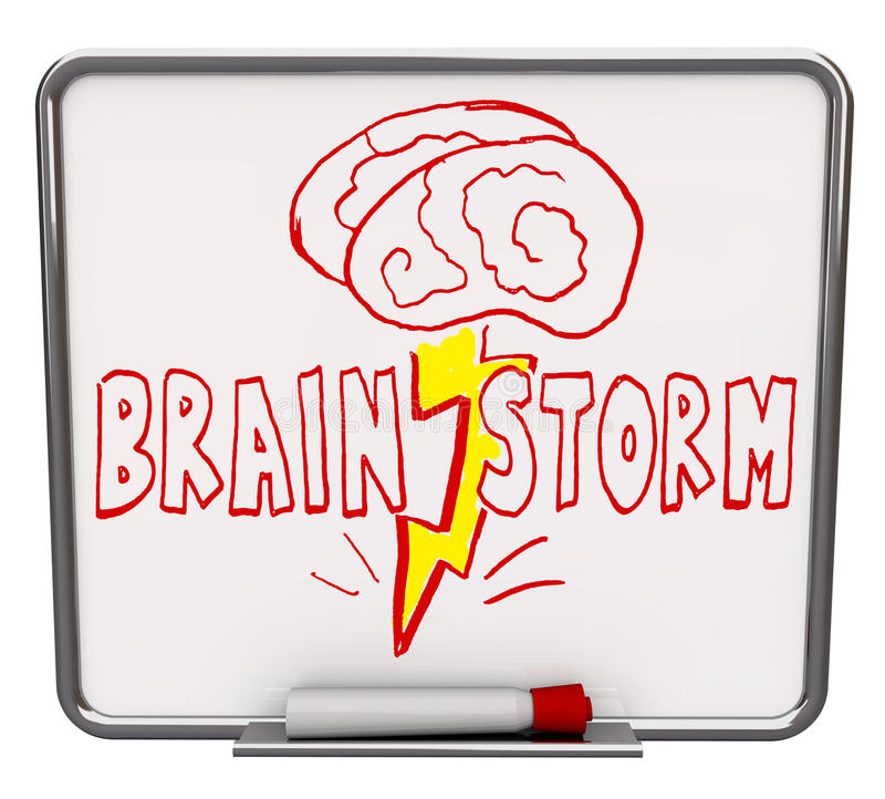 Brainstorm - Dry Erase Board with Red Marker stock illustration