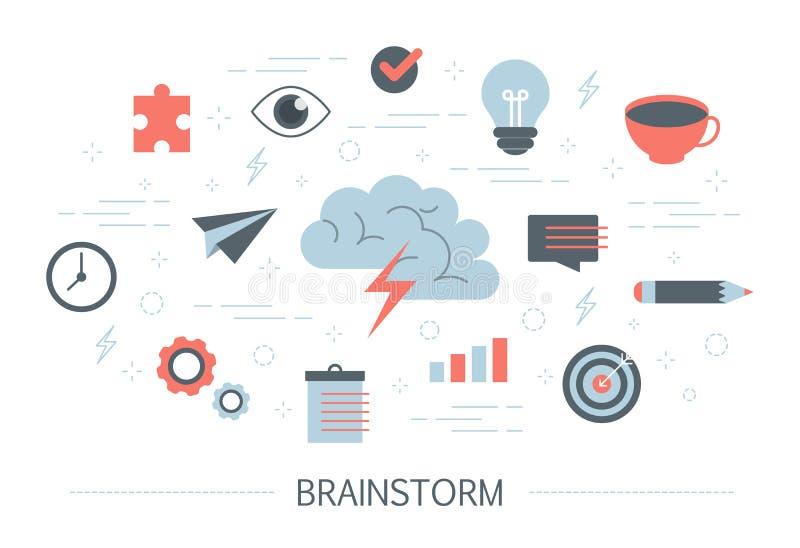Brainstorm i kreatywnie umysłu pojęcie Wytwarza nowego pomysł ilustracji
