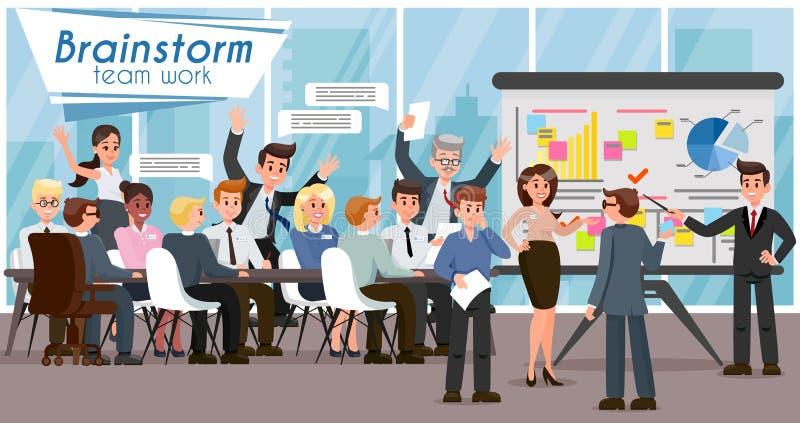 Brainstorm i praca zespołowa Wektorowa płaska ilustracja ilustracji