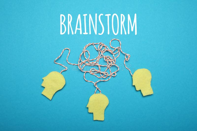Brainstorm idea, team mind. Creative business work royalty free stock image