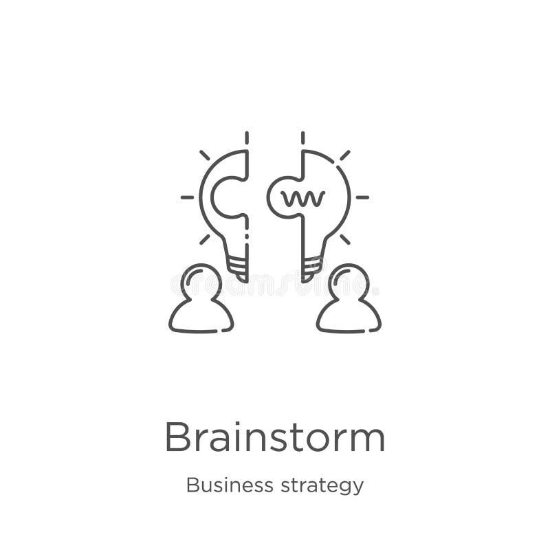 brainstorm ikony wektor od strategii biznesowej kolekcji Cienka kreskowa brainstorm konturu ikony wektoru ilustracja Kontur, cien royalty ilustracja