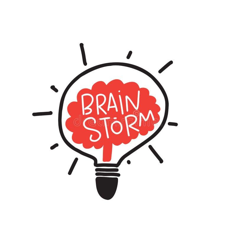 brainstorm Ilustração engraçada da garatuja do cérebro na lâmpada Cartaz da tipografia Vetor ilustração do vetor