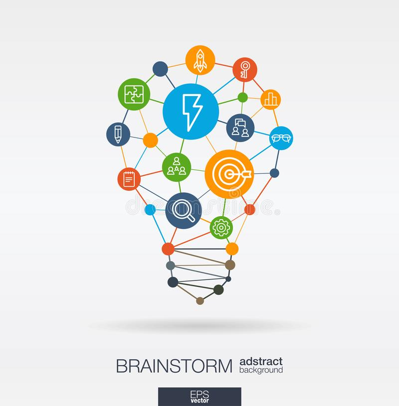 Brainstorm integrated thin line icons in idea light bulb shape. Digital neural network interact concept. Idea, solution stock illustration