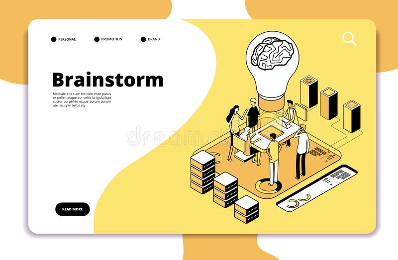 Brainstorm landing page. Business people launching new project and brainstorming. Innovation teamwork creative vector vector illustration