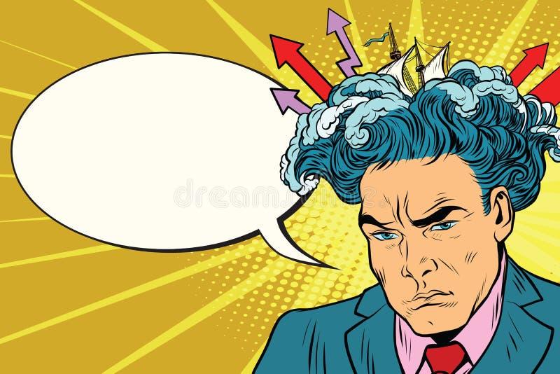 Brainstorm man thinks stock illustration