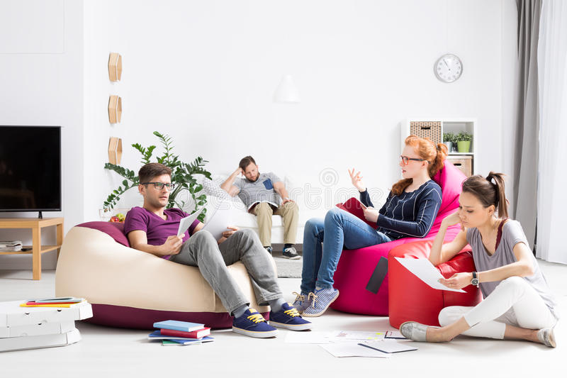 Brainstorm in the middle of exam session stock image