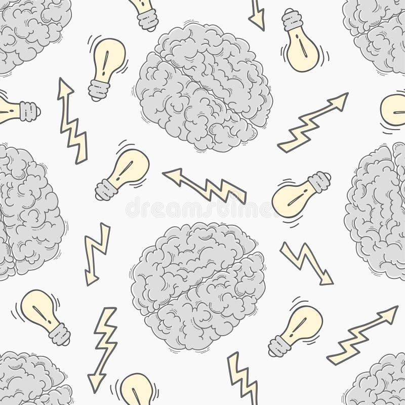 brainstorm Modelo inconsútil con el cerebro humano stock de ilustración