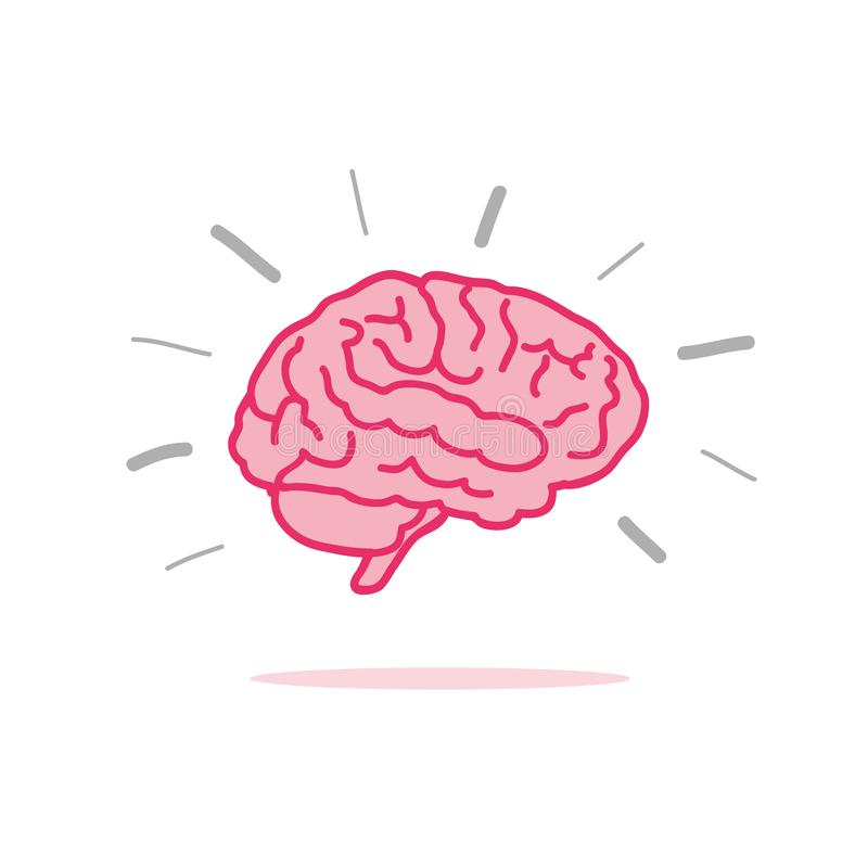 Brainstorm pink brain icon vector illustration