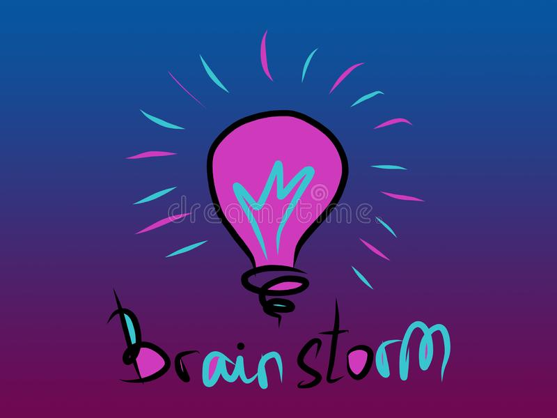 Brainstorm word with lightbulb - blue and pink digital painting of business idea concept stock illustration