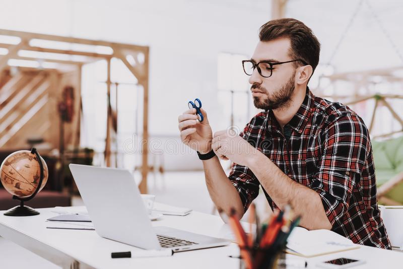 Brainstorm. Young Guy. Businessman . Spinner stock images