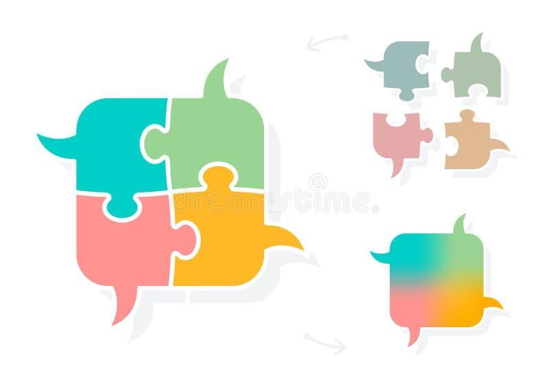 Brainstorming łamigłówki mowę gulgocze pojęcie ilustracja wektor