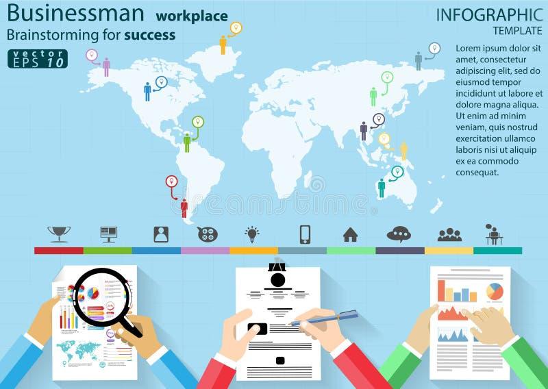 'brainstorming' εργασιακών χώρων επιχειρηματιών για την επιτυχία που το σύγχ απεικόνιση αποθεμάτων
