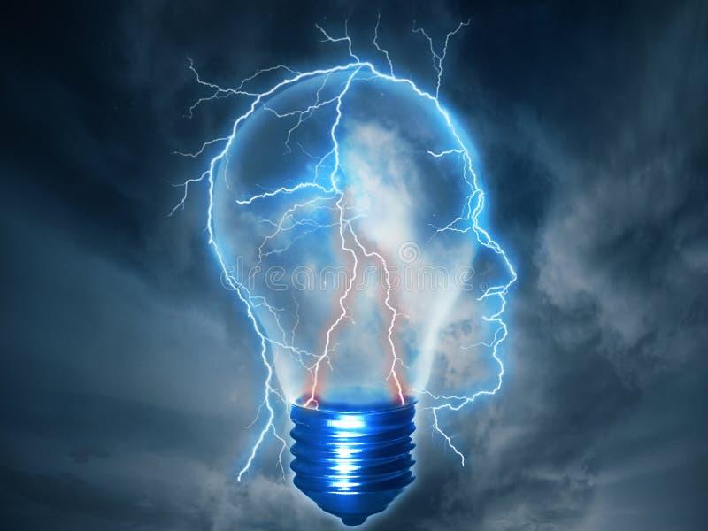 Brainstorming błyskawicowego rygiel kształtującego jako ludzka głowa z lightbulb ilustracja wektor