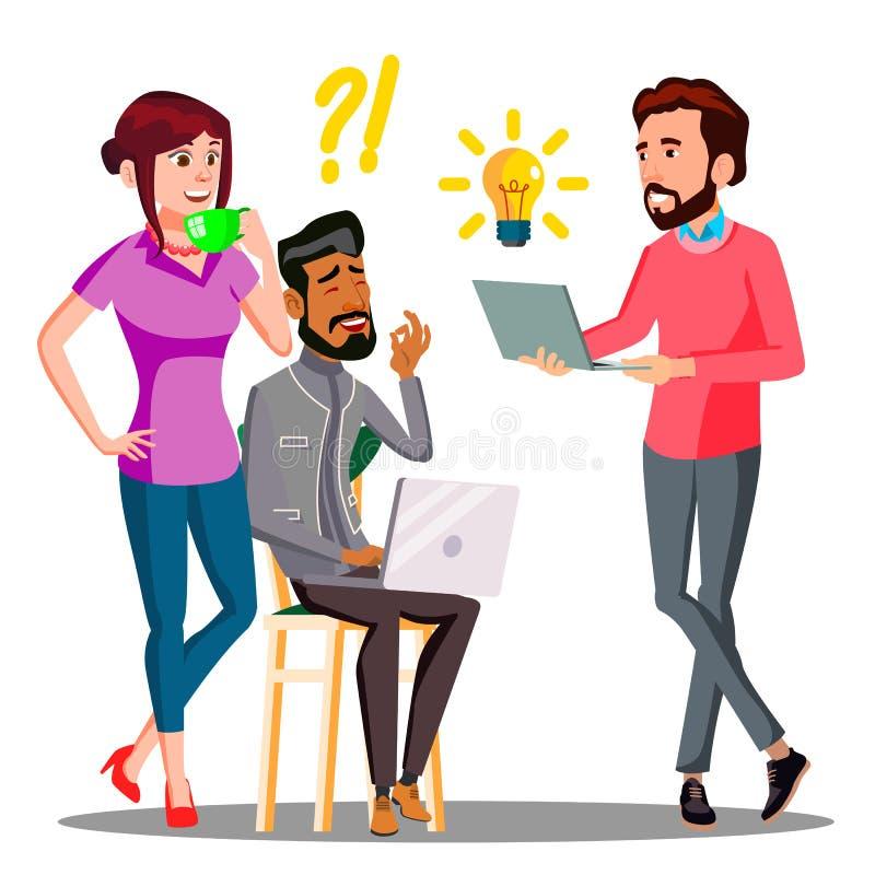 Brainstorming, Biurowi pracownicy Aktywnie Opowiada Z palenia światłem Nad Kierowniczy wektor button ręce s push odizolowana pocz ilustracja wektor