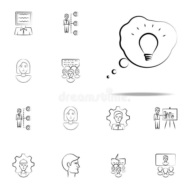 brainstorming, biznes, pomysł ręka rysująca ikona Biznesowy ikony ogólnoludzki ustawiający dla sieci i wiszącej ozdoby ilustracja wektor