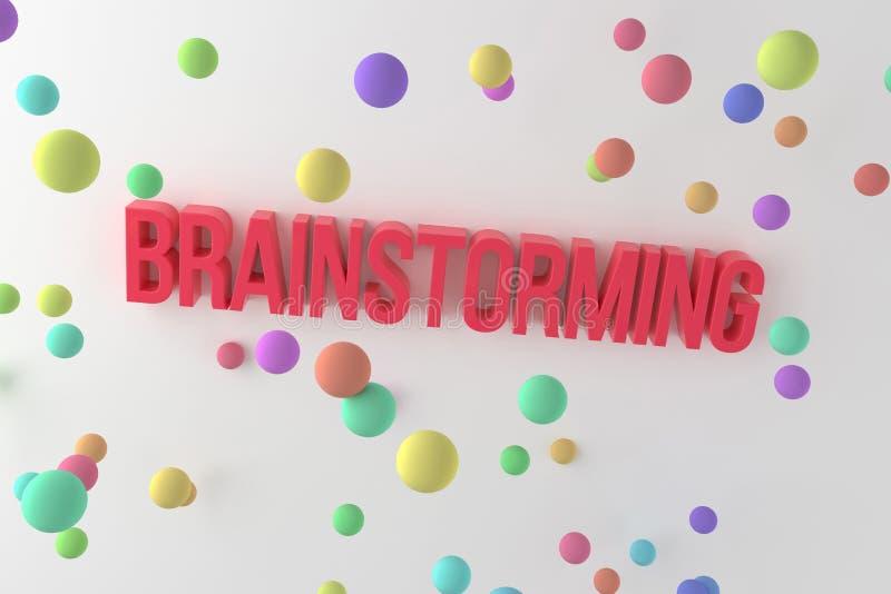 Brainstorming, biznesowi konceptualni kolorowi 3D odpłacający się słowa Cgi, rendering, styl & abecadło, royalty ilustracja