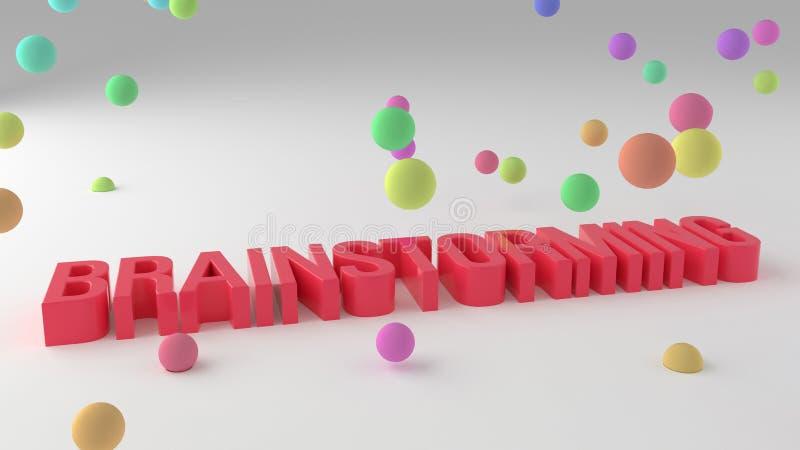 Brainstorming, biznesowi konceptualni kolorowi 3D odpłacający się słowa Cgi, tło, ilustracja & komunikacja, ilustracja wektor