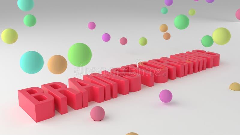 Brainstorming, biznesowi konceptualni kolorowi 3D odpłacający się słowa Sieć, typografia, tekst & tło, ilustracji