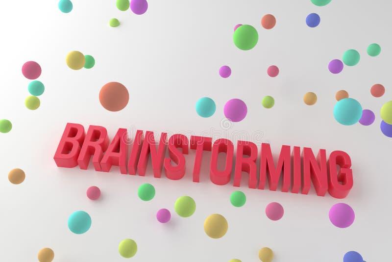 Brainstorming, biznesowi konceptualni kolorowi 3D odpłacający się słowa Typografia, tapeta, pozytyw & ilustracja, royalty ilustracja
